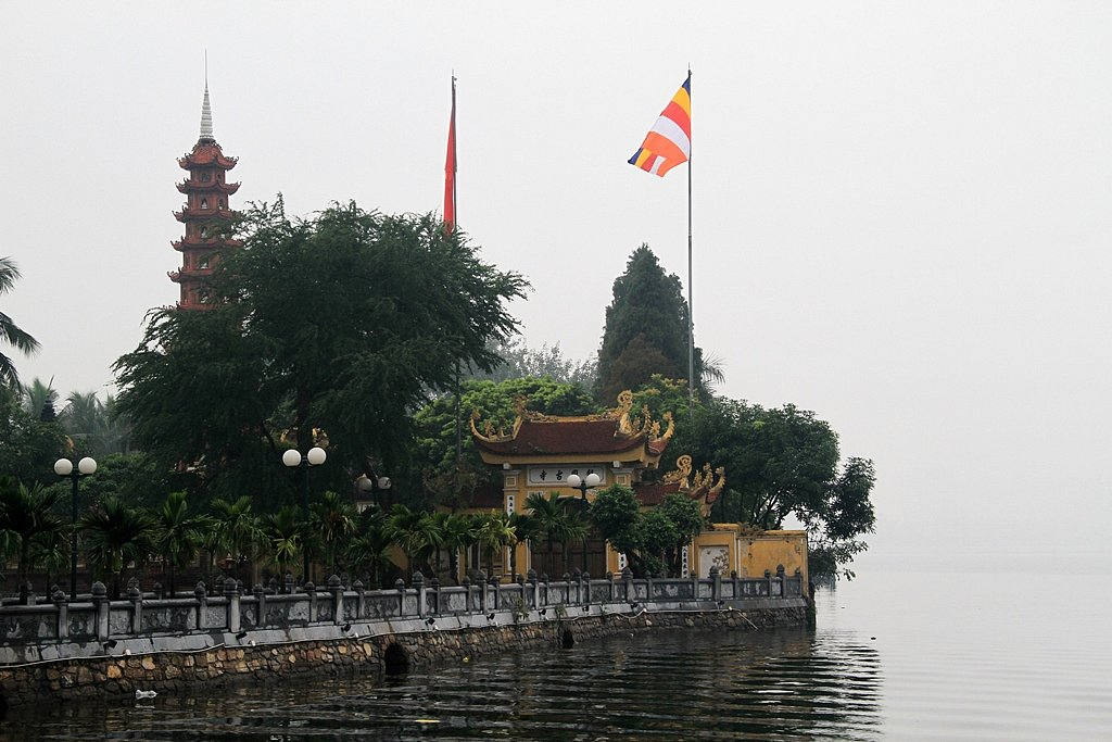 Tran Quoc Pagoda in the morning mist, Hanoi.